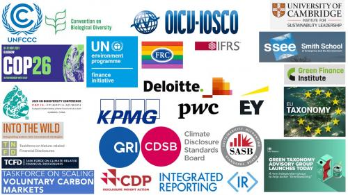 An image collage of various logos of financial organisations who have made environmental pledges