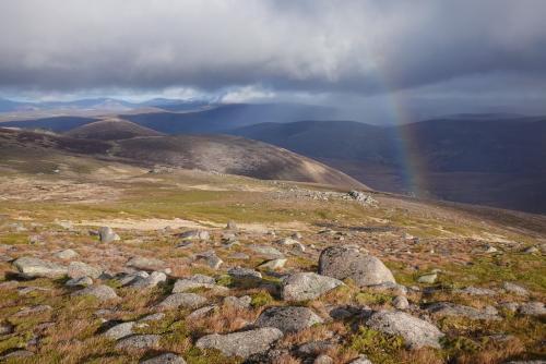 Rainbow over a Scottish alpine landscape
